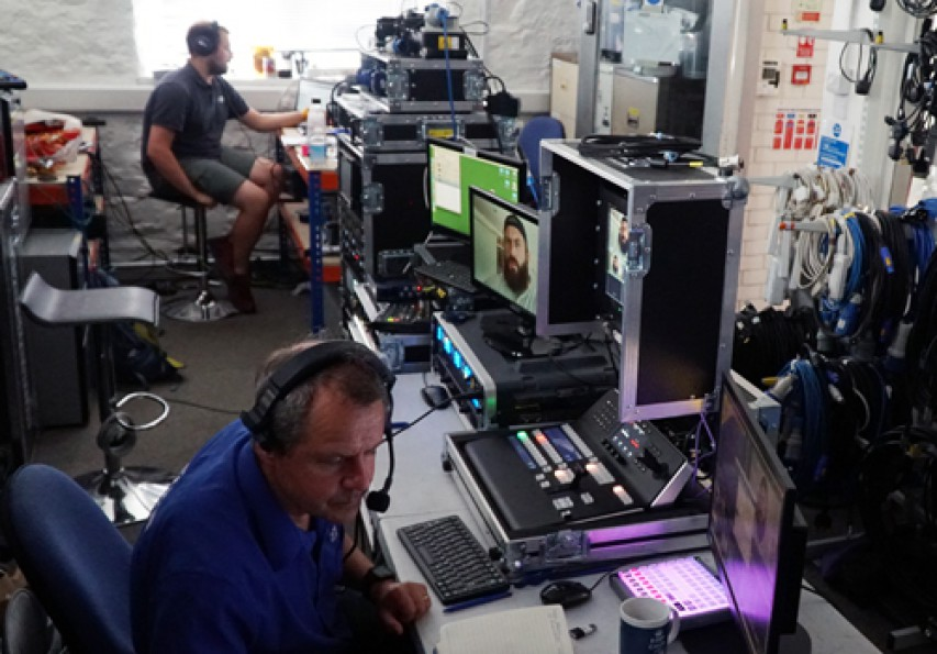 Remote event production gallery during Virtual Rugby Show